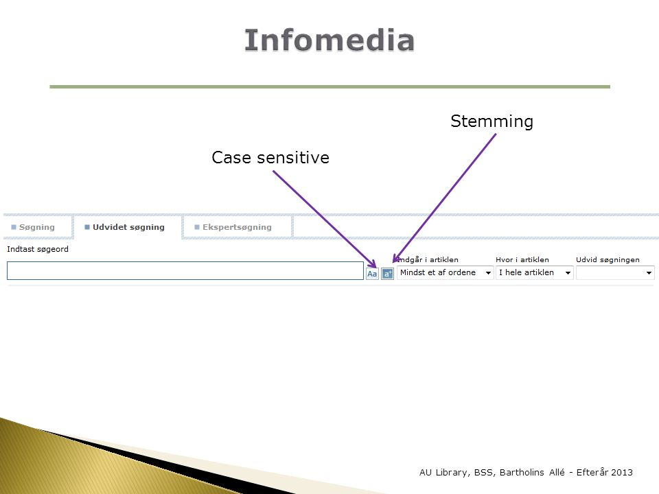 Infomedia Stemming Case sensitive