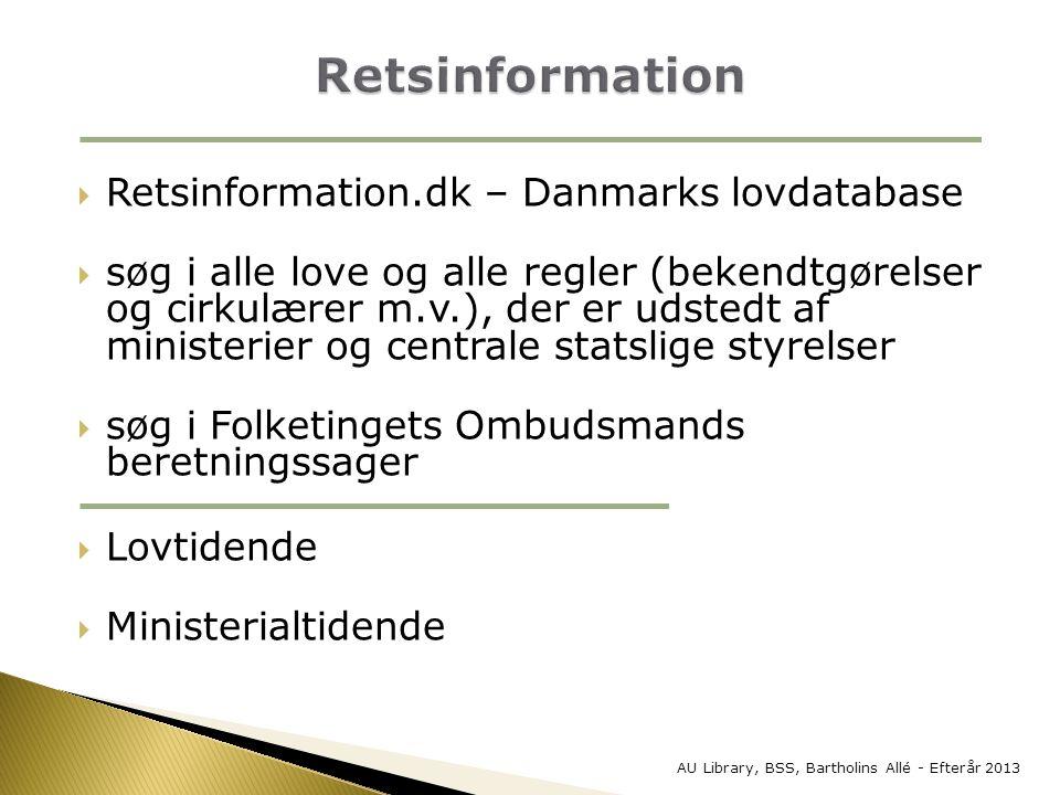 Retsinformation Retsinformation.dk – Danmarks lovdatabase