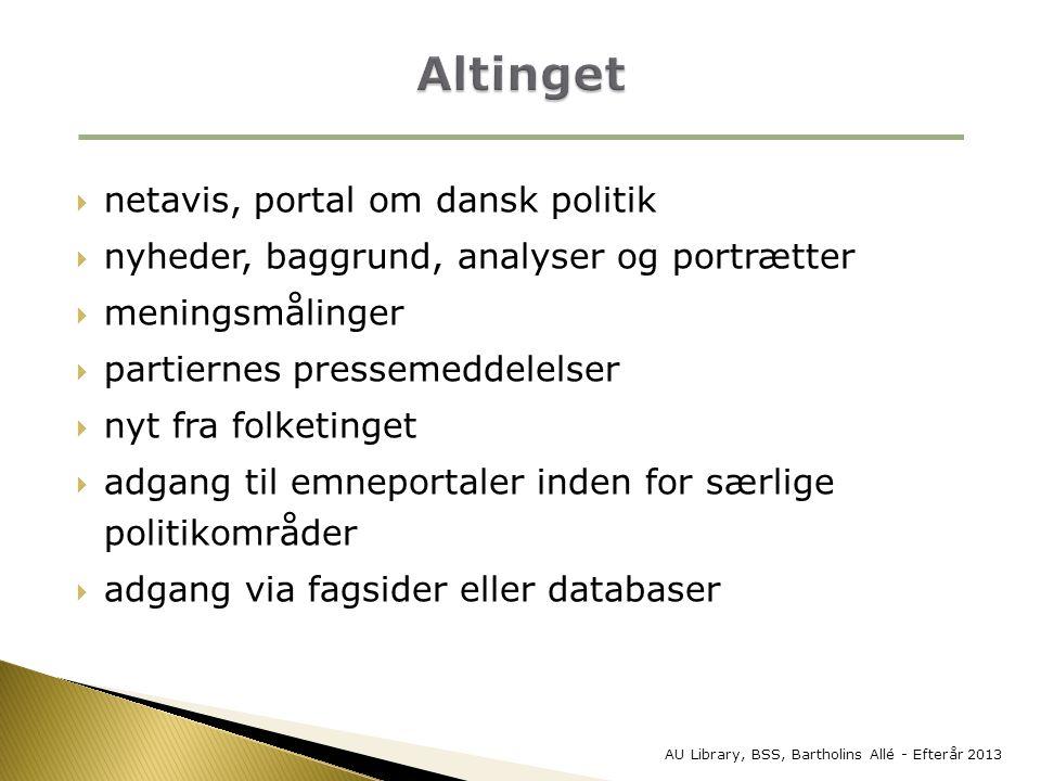 Altinget netavis, portal om dansk politik