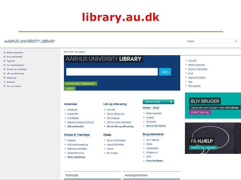 library.au.dk AU Library, BSS, Bartholins Allé - Efterår 2013
