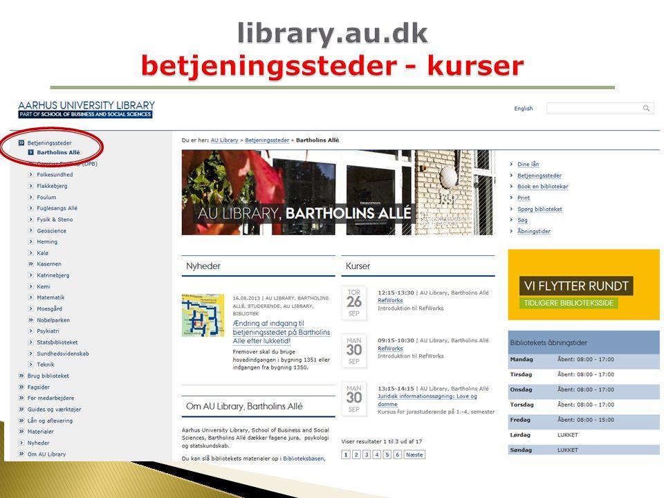 library.au.dk betjeningssteder - kurser