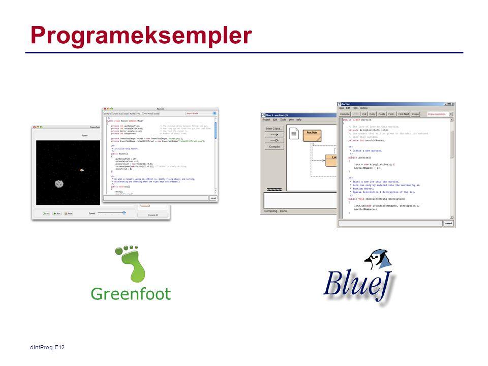 Programeksempler Greenfoot dIntProg, E12