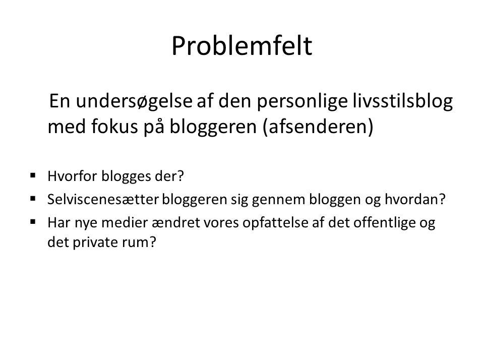 Problemfelt En undersøgelse af den personlige livsstilsblog med fokus på bloggeren (afsenderen) Hvorfor blogges der