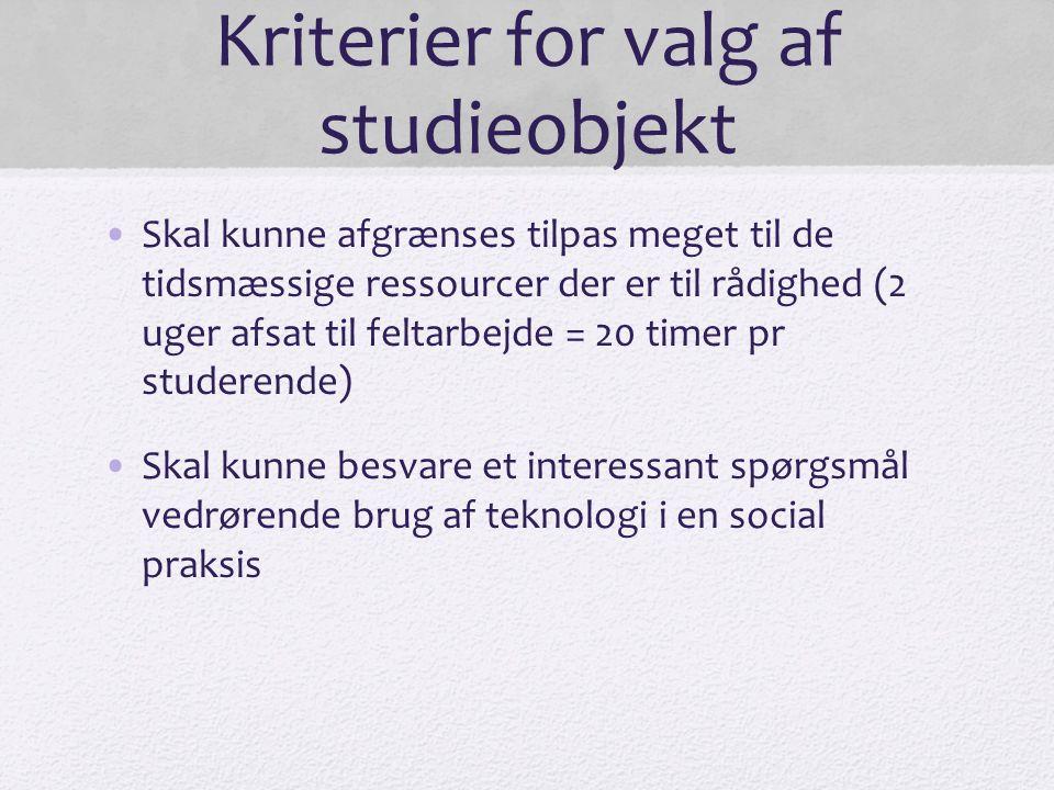 Kriterier for valg af studieobjekt