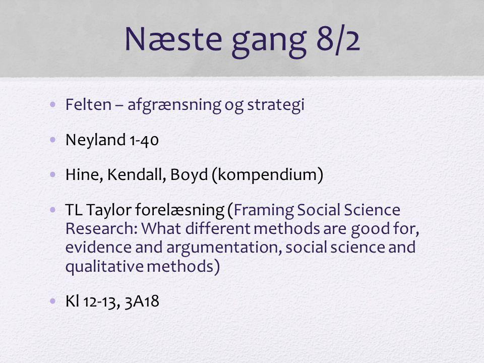 Næste gang 8/2 Felten – afgrænsning og strategi Neyland 1-40