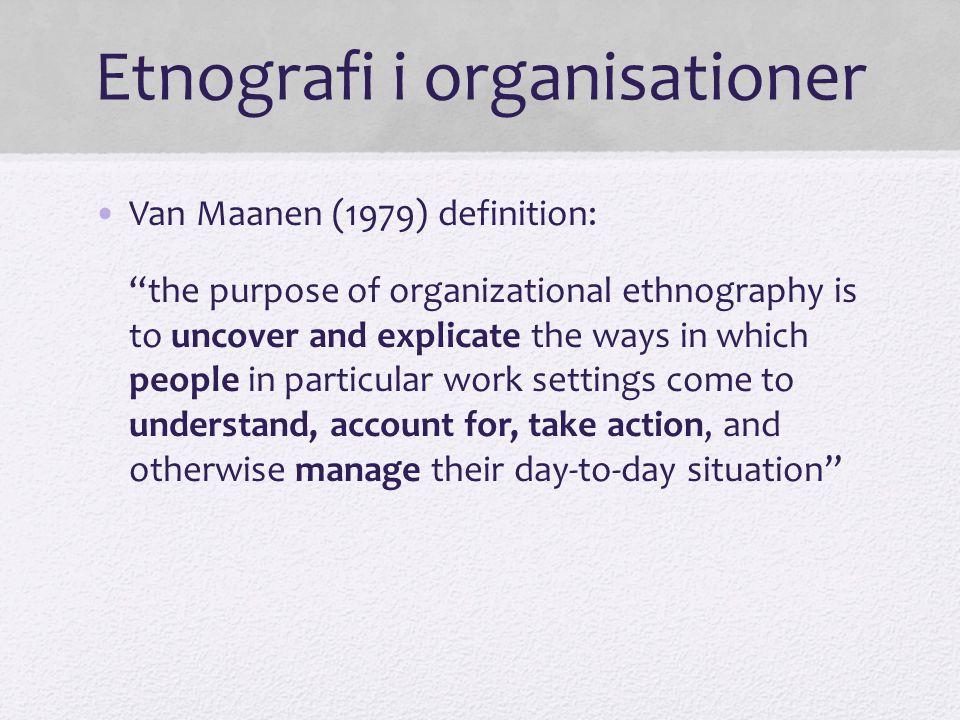 Etnografi i organisationer