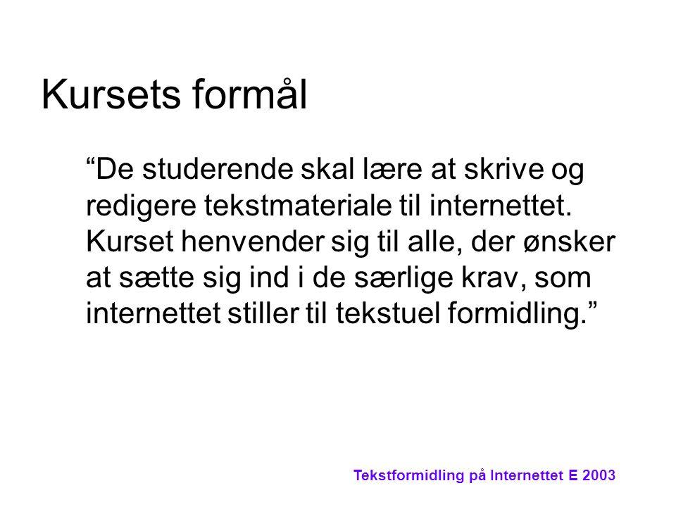 Tekstformidling på Internettet E 2003