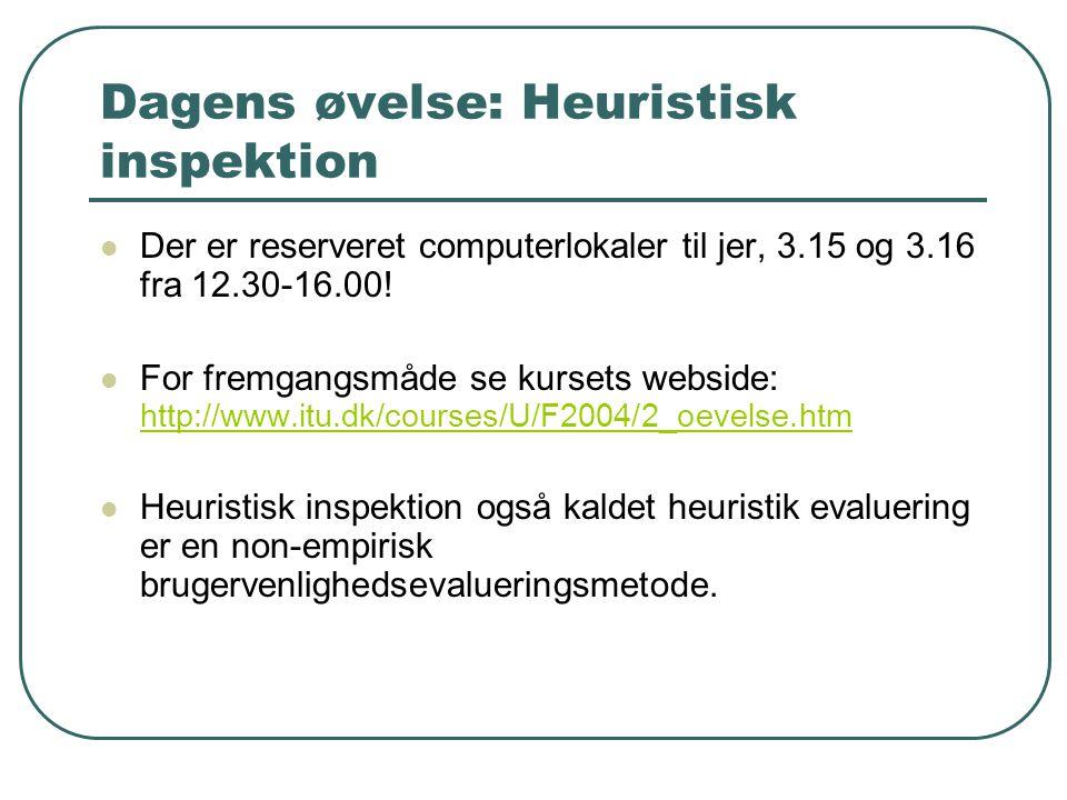 Dagens øvelse: Heuristisk inspektion