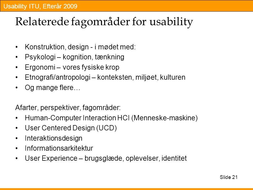 Relaterede fagområder for usability