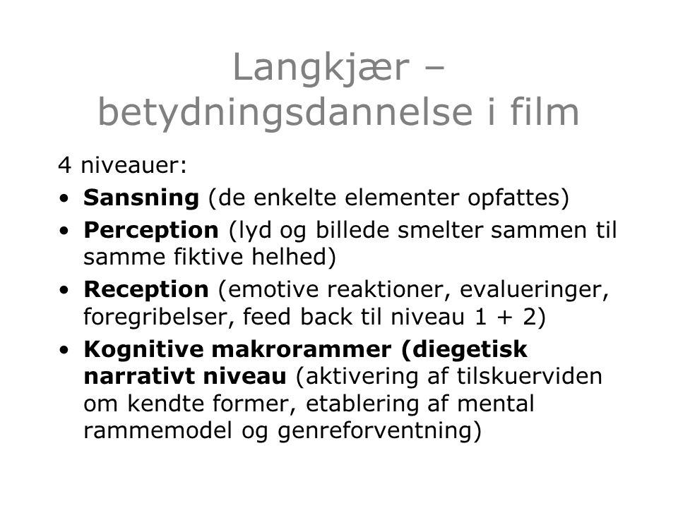 Langkjær – betydningsdannelse i film