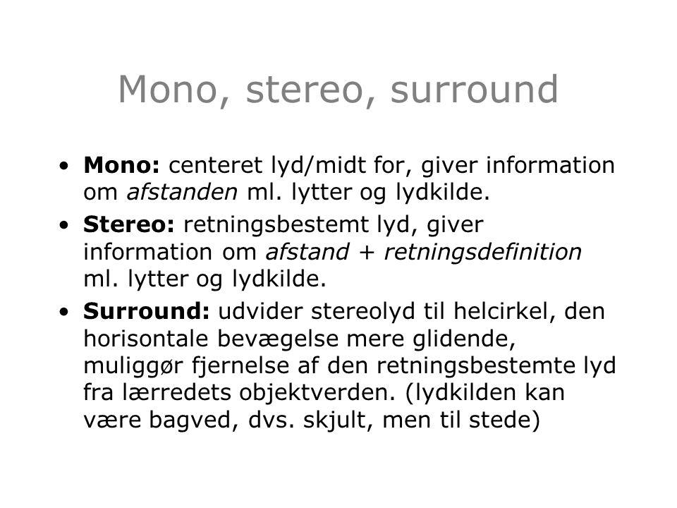Mono, stereo, surround Mono: centeret lyd/midt for, giver information om afstanden ml. lytter og lydkilde.
