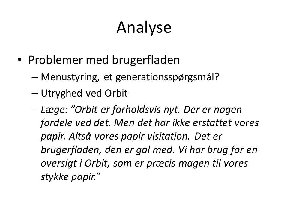 Analyse Problemer med brugerfladen