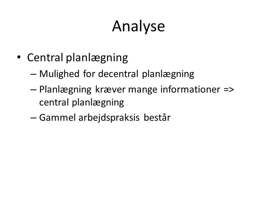 Analyse Central planlægning Mulighed for decentral planlægning