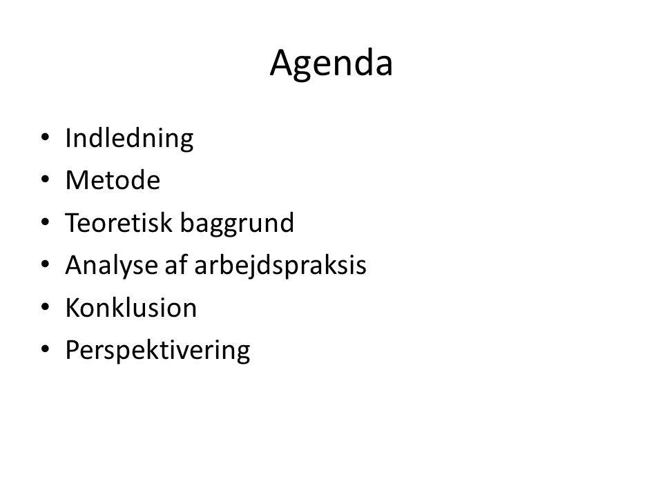 Agenda Indledning Metode Teoretisk baggrund Analyse af arbejdspraksis