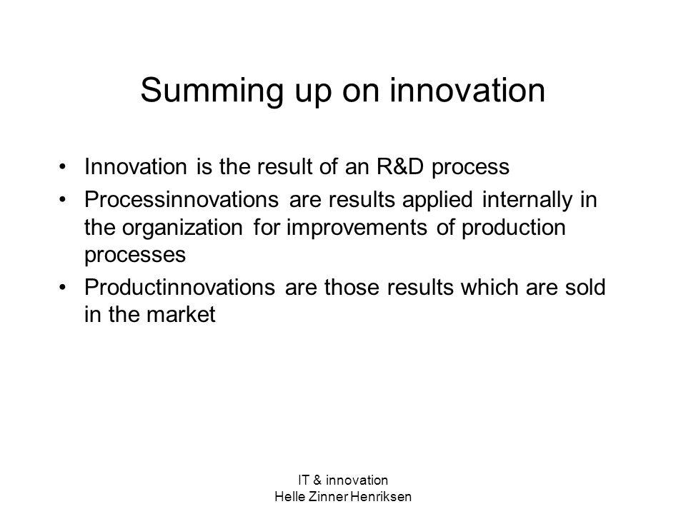 Summing up on innovation