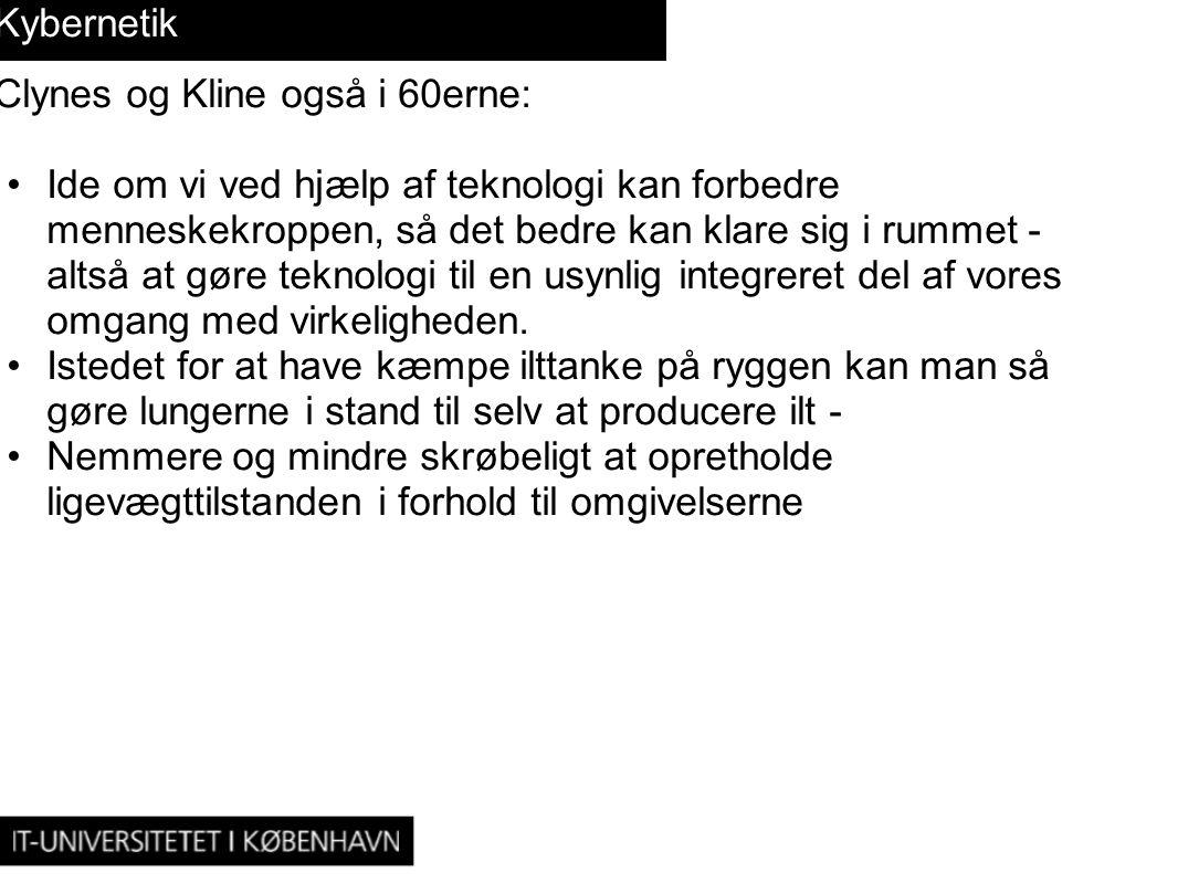 Kybernetik Clynes og Kline også i 60erne: