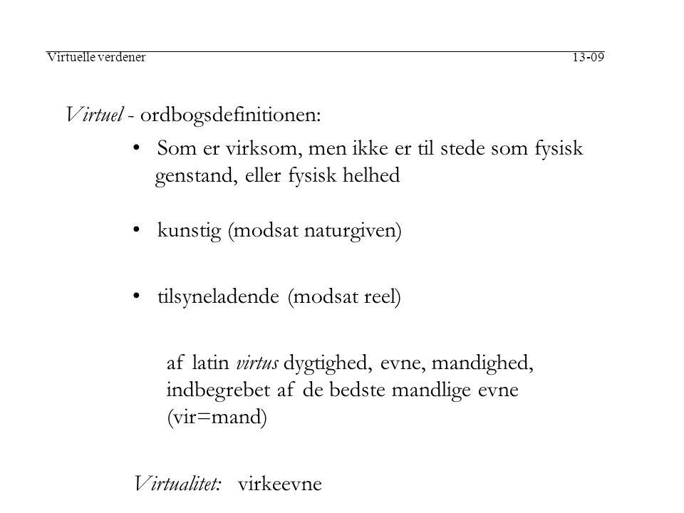 Virtuel - ordbogsdefinitionen: