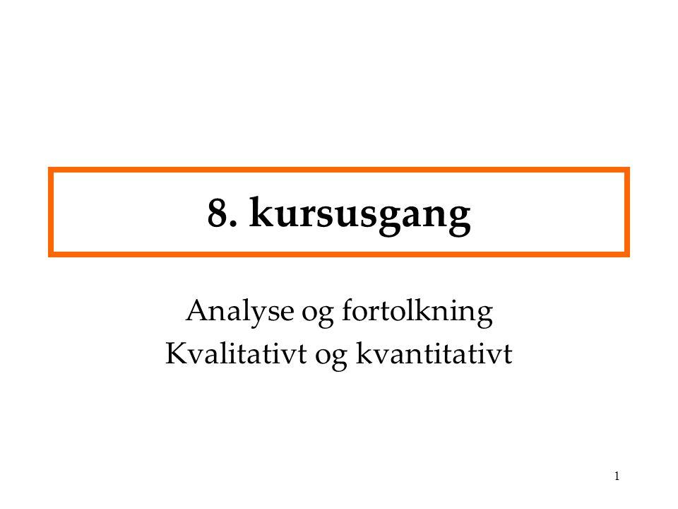 Analyse og fortolkning Kvalitativt og kvantitativt