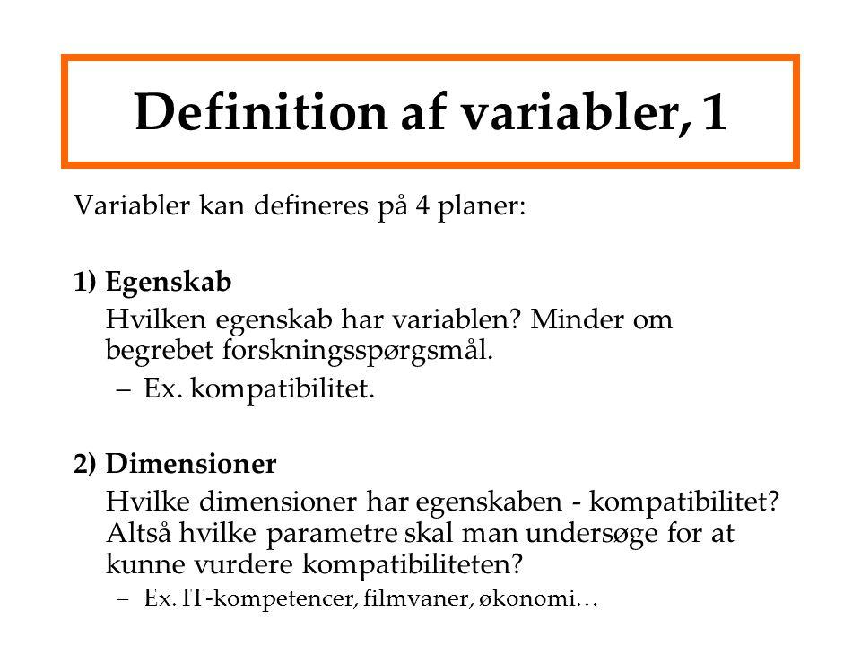 Definition af variabler, 1