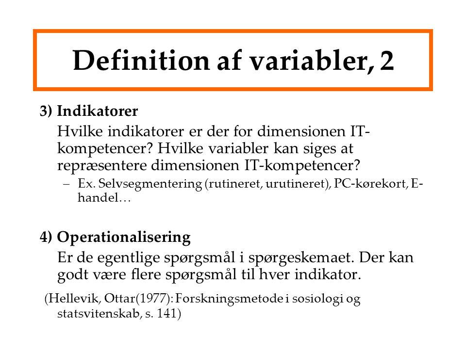 Definition af variabler, 2