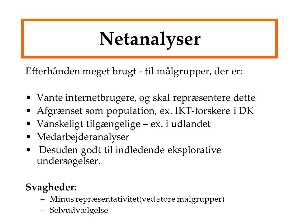 Netanalyser Efterhånden meget brugt - til målgrupper, der er: