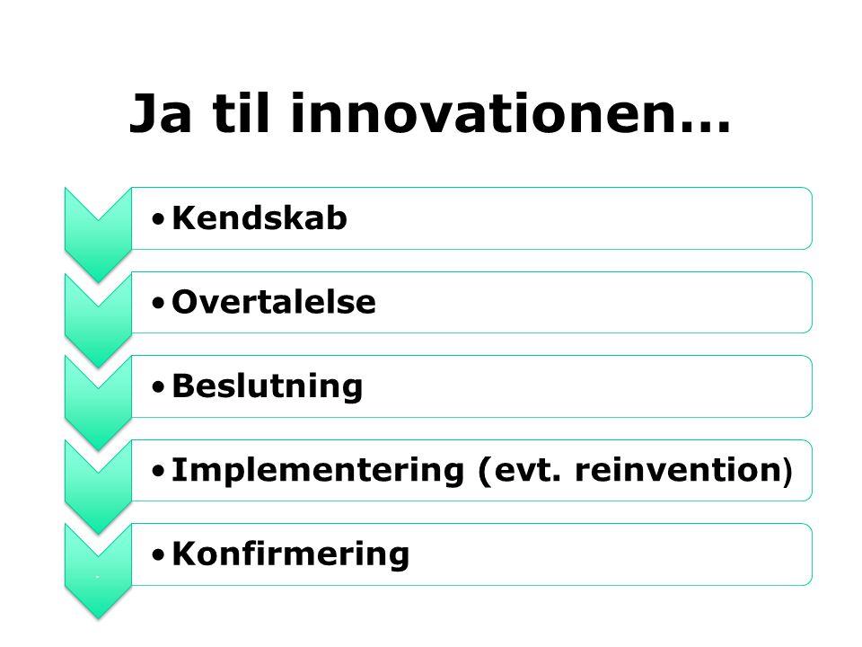 Ja til innovationen… Kendskab Overtalelse Beslutning
