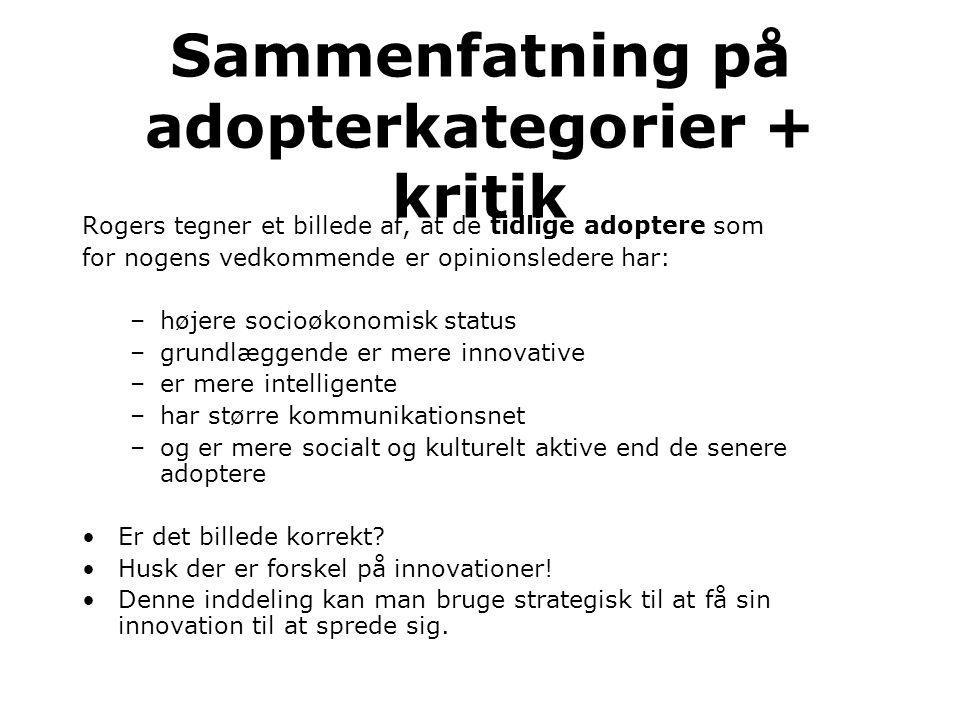 Sammenfatning på adopterkategorier + kritik