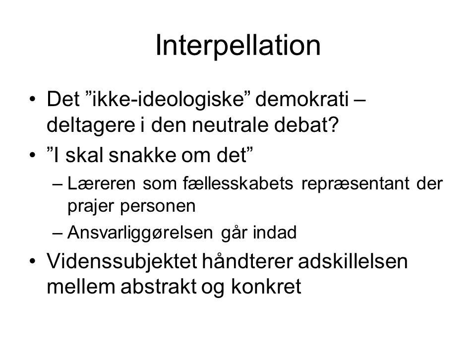 Interpellation Det ikke-ideologiske demokrati – deltagere i den neutrale debat I skal snakke om det