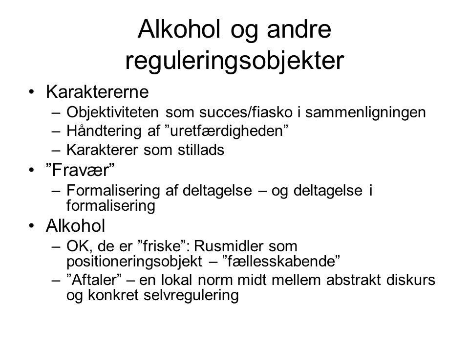 Alkohol og andre reguleringsobjekter