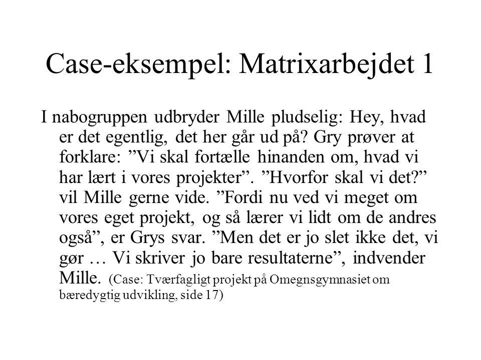Case-eksempel: Matrixarbejdet 1