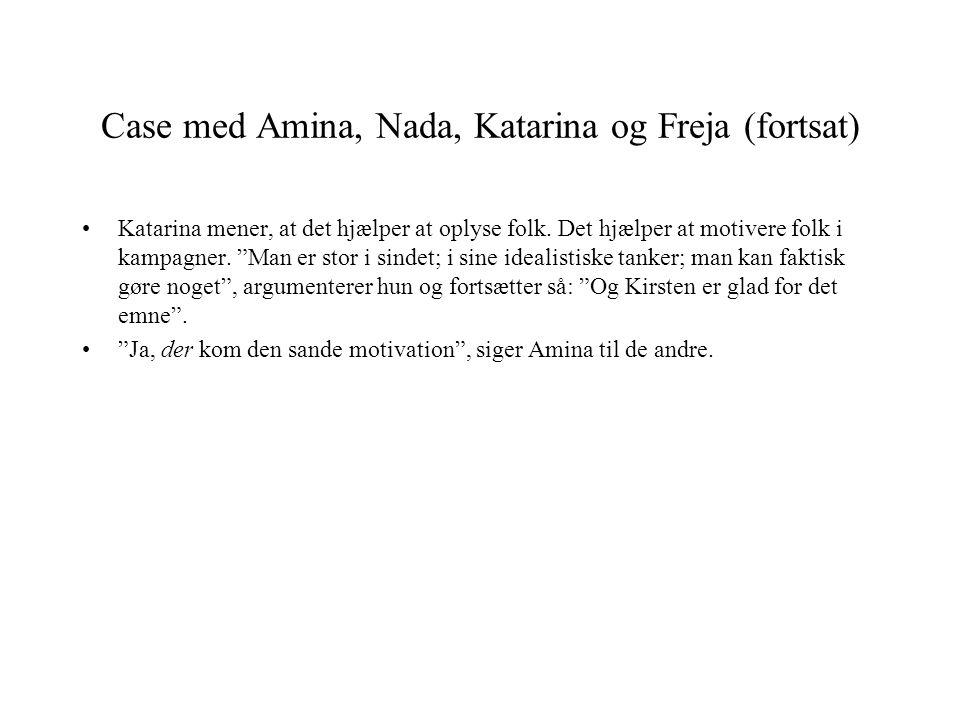 Case med Amina, Nada, Katarina og Freja (fortsat)
