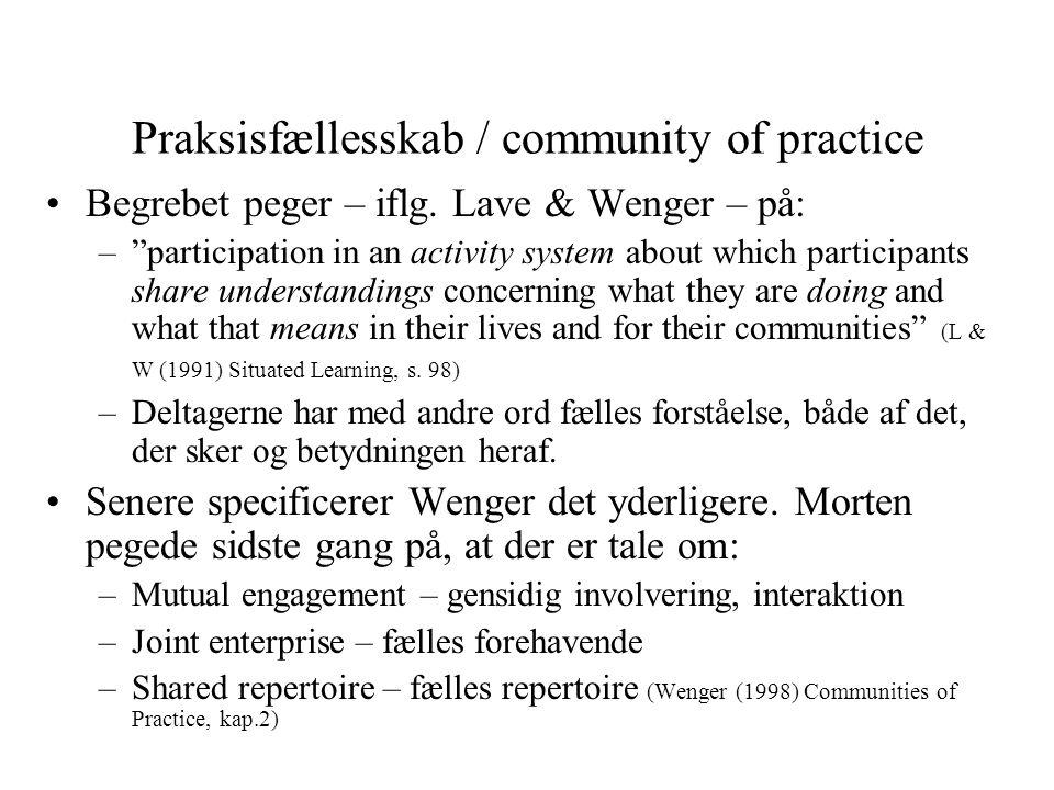 Praksisfællesskab / community of practice