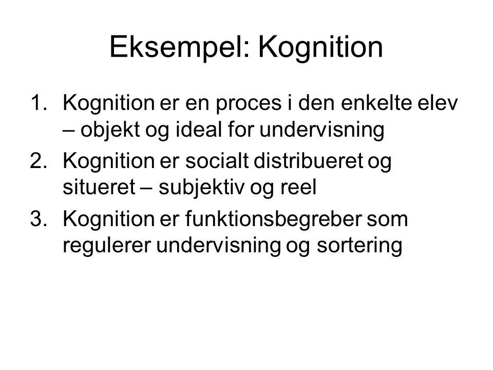 Eksempel: Kognition Kognition er en proces i den enkelte elev – objekt og ideal for undervisning.