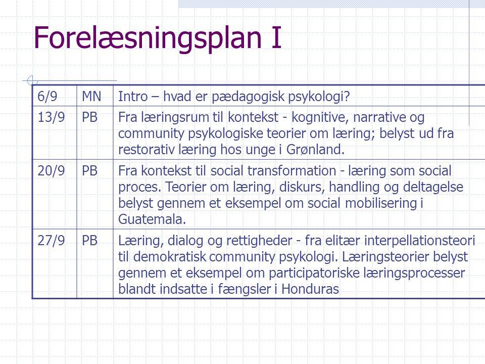 Forelæsningsplan I 6/9 MN Intro – hvad er pædagogisk psykologi 13/9