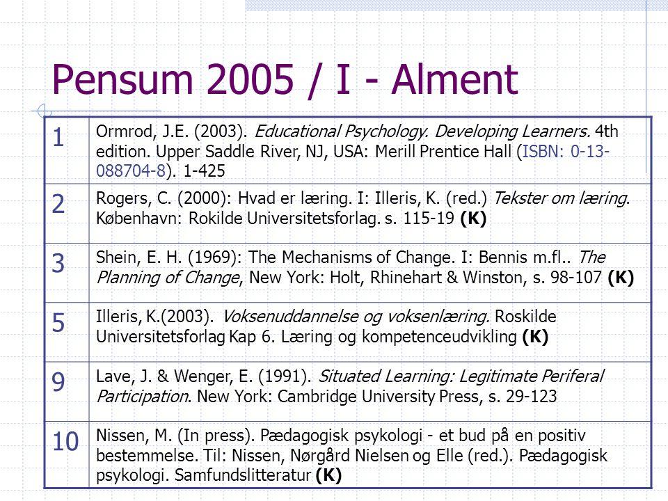Pensum 2005 / I - Alment 1.