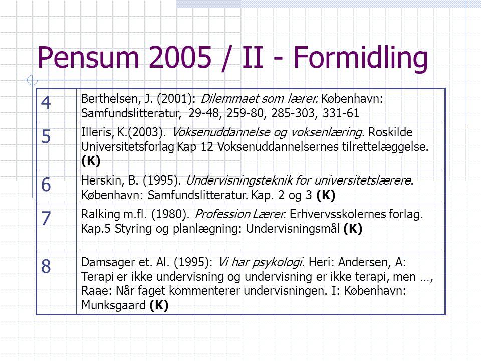 Pensum 2005 / II - Formidling