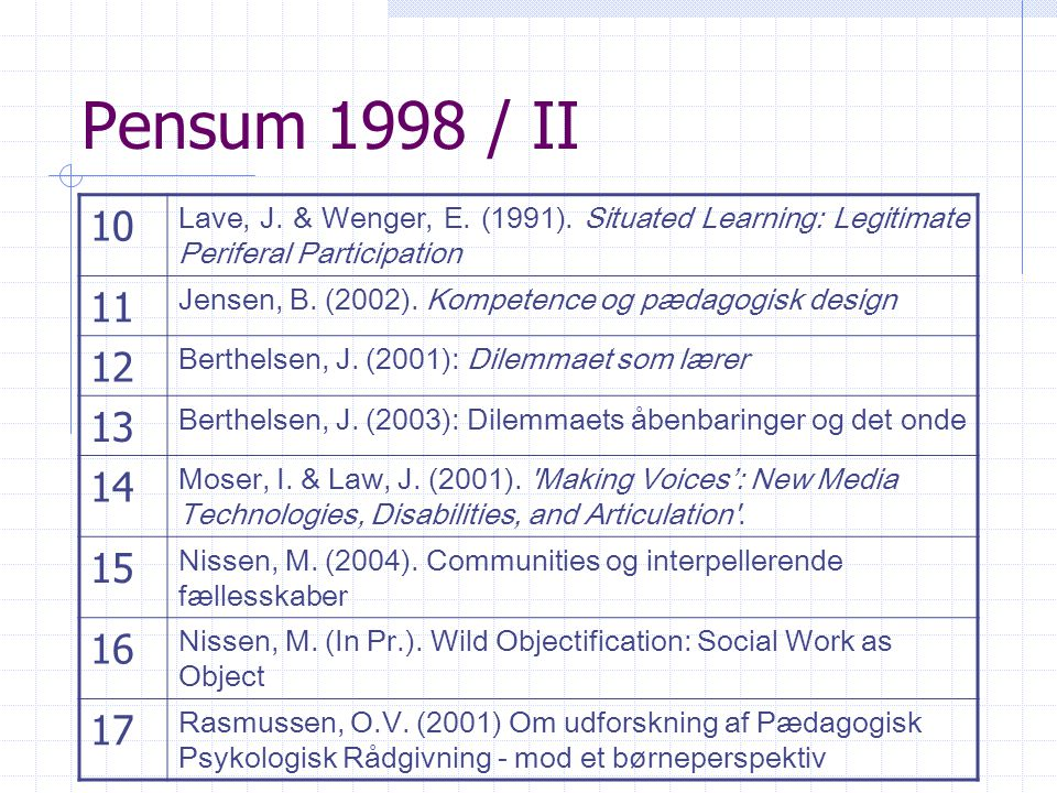 Pensum 1998 / II 10. Lave, J. & Wenger, E. (1991). Situated Learning: Legitimate Periferal Participation.