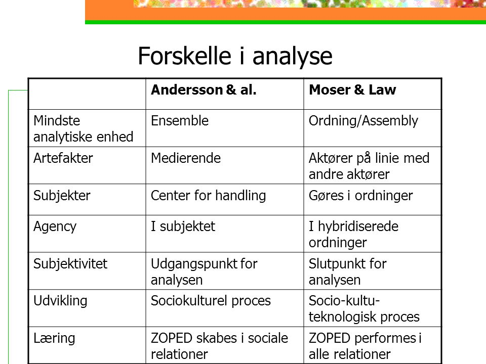 Forskelle i analyse Andersson & al. Moser & Law