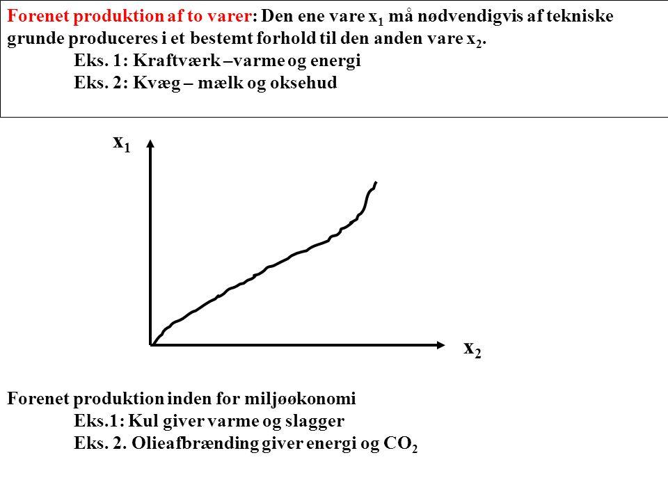 Forenet produktion af to varer: Den ene vare x1 må nødvendigvis af tekniske grunde produceres i et bestemt forhold til den anden vare x2.