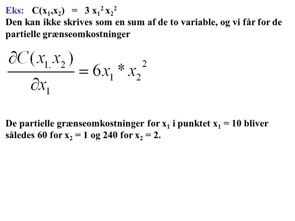 Eks: C(x1,x2) = 3 x12 x22 Den kan ikke skrives som en sum af de to variable, og vi får for de partielle grænseomkostninger.
