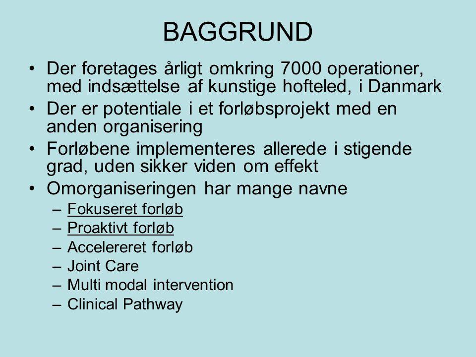 BAGGRUND Der foretages årligt omkring 7000 operationer, med indsættelse af kunstige hofteled, i Danmark.