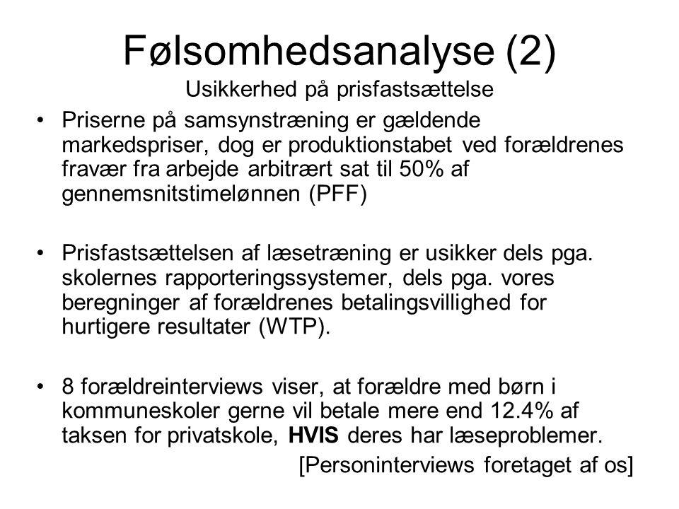 Følsomhedsanalyse (2) Usikkerhed på prisfastsættelse