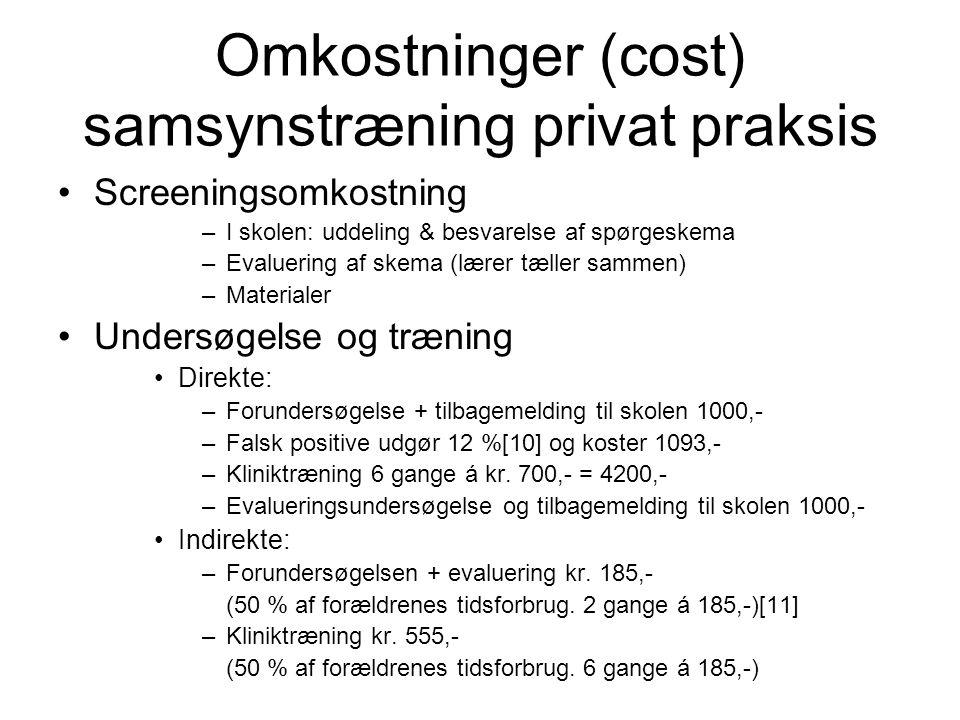 Omkostninger (cost) samsynstræning privat praksis