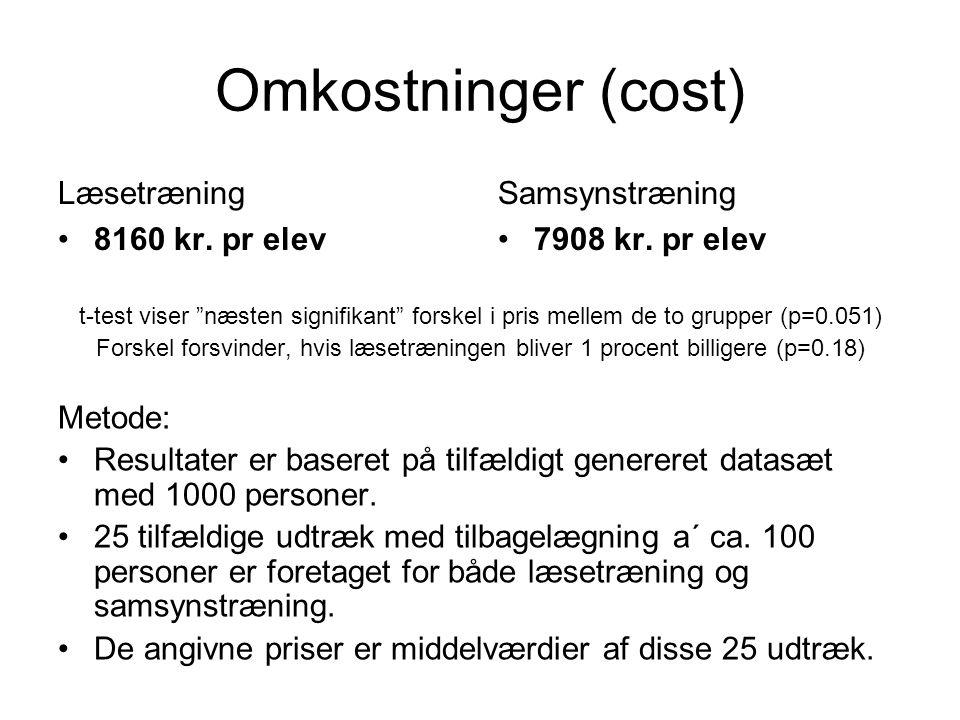 Omkostninger (cost) Læsetræning 8160 kr. pr elev Samsynstræning