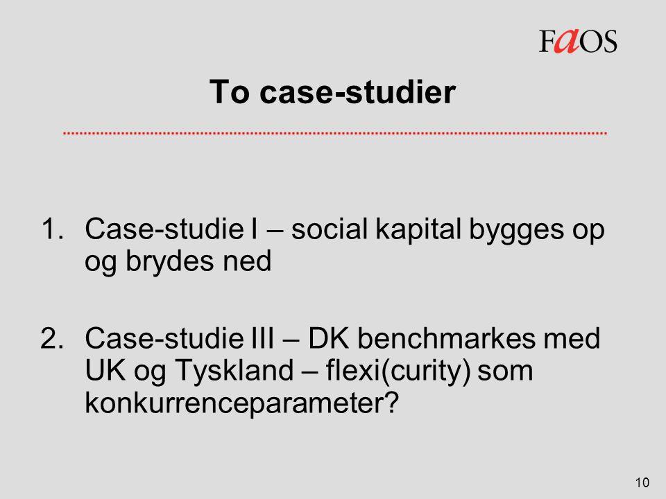 To case-studier Case-studie I – social kapital bygges op og brydes ned