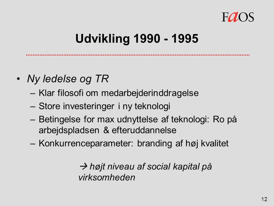 Udvikling 1990 - 1995 Ny ledelse og TR