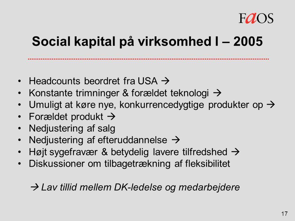 Social kapital på virksomhed I – 2005