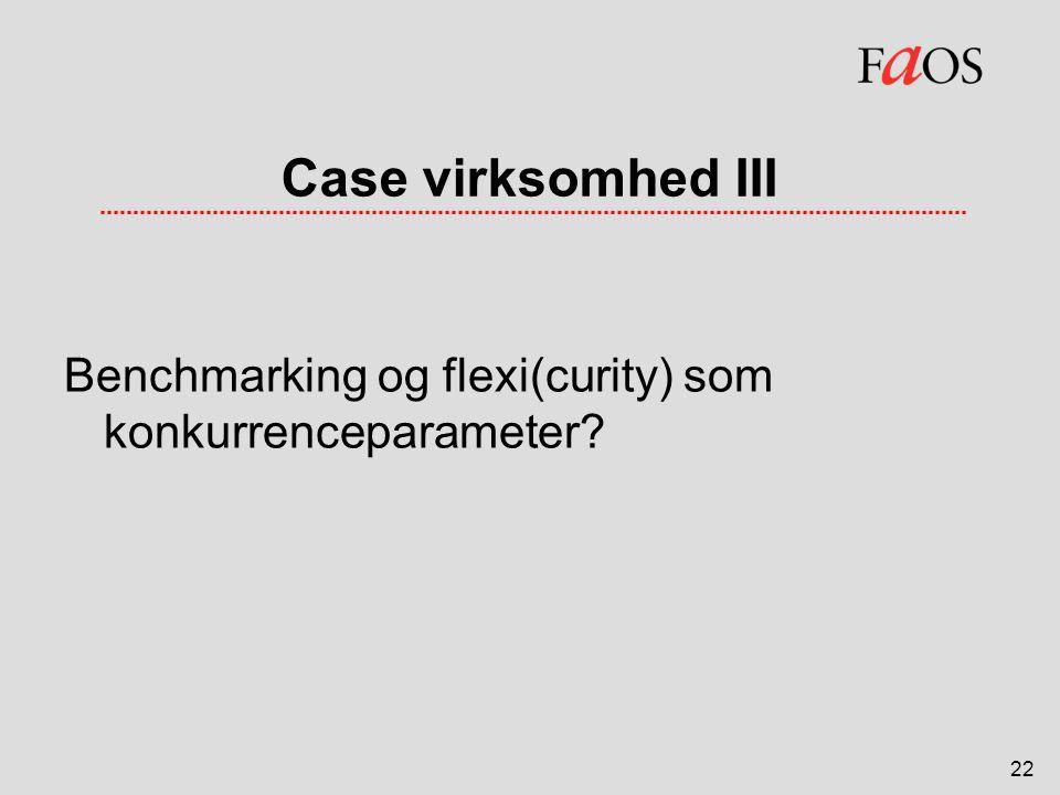 Case virksomhed III Benchmarking og flexi(curity) som konkurrenceparameter