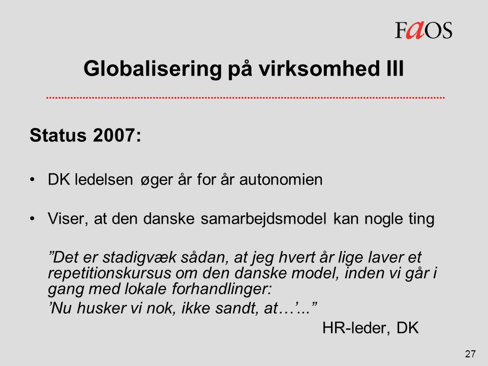 Globalisering på virksomhed III