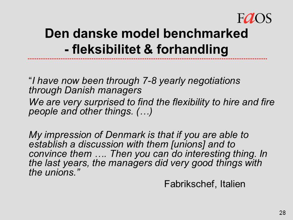 Den danske model benchmarked - fleksibilitet & forhandling